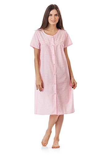 Casual Nights Women's Short Sleeve Eyelet Embroidered House Dress - Pink - X-Large (Pink Eyelet Dress)