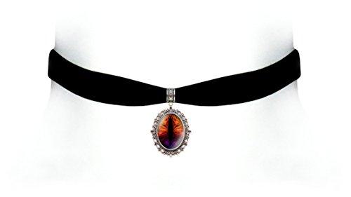 Victorian Vault Black Velvet Dragon Eye Choker Steampunk Gothic Pendant Necklace (Flame Rainbow) by Victorian Vault (Image #1)