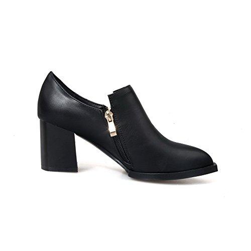Allhqfashion Womens Pointed Closed Toe Kitten Hakken Rits Solid Pumps Shoes Zwart