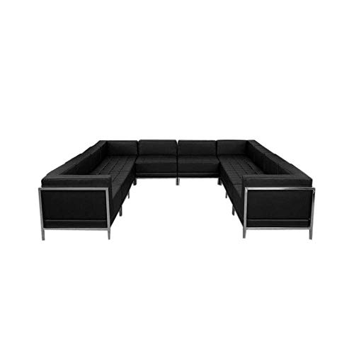 (Flash Furniture HERCULES Imagination Series Black Leather U-Shape Sectional Configuration, 10 Pieces)