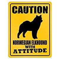 Caution Norwegian Elkhound with Attitude Dogs Parking Sign [ Decorative Novelty Sign Wall Plaque ]