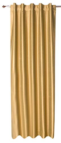 Zappy Cart Satin Dupioni Faux Silk Curtains from with 100% Blackout Lining, Each 51″ (130 cm) Wide X 120″ (305 cm) Long, Hidden Tab Top, Color – Gold. For Sale