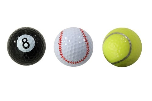Assorted Designed Golf Balls (Tennis, Baseball, 8-Ball) - 3 balls in a box