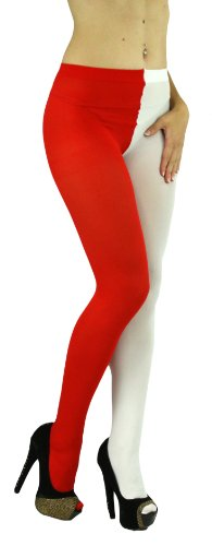 Red White Tights (ToBeInStyle Women's Two Toned Jester Tights W/Reinforced Toe - One Size: Regular -)