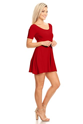 Plus 3 Womens Sleeve Dress Fit and and Reg A Casual Size 4 Tomato Skater Short Flare and Line SA1rZwAq