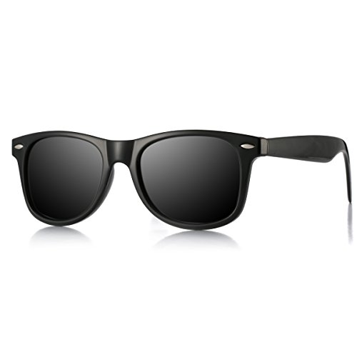 (AZORB Classic Polarized Sunglasses Unisex Square Horn Rimmed Design (Matte Black/Black, 53))