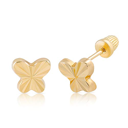 Balluccitoosi 14k Gold Tiny Diamond Cut Stud Earrings for Women & Girls - Real Hypoallergenic for Sensitive Ears, Small & Minimalist ()