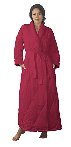 - Warm Things Quilted Down Robe Burgundy/M 12-14