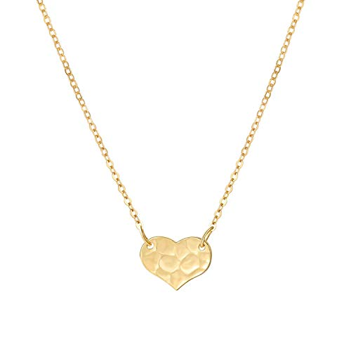 SEAYII Women Gold Heart Necklace Choker 14K Gold Fill Tiny Pendant I Love You Cute Dainty Chain Boho Simple Delicate Handmade Hammered Gold Jewelry 13in Gift