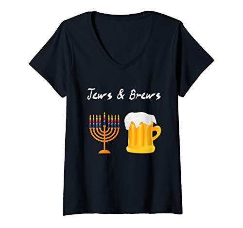 Womens Jews And Brews Jewish Beer Drinking V-Neck T-Shirt (Jew Brew Beer)