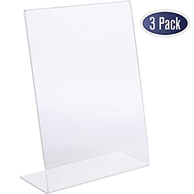 Slant Back Acrylic Sign Holder, 8.5 x 11 Inches Economy Portrait Ad Frames, Perfect for Home, Office, Store, Restaraunt