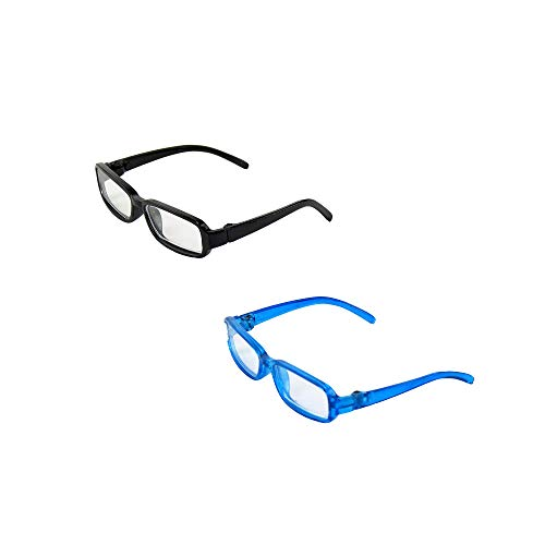 American Fashion World Two Pair of Black and Blue Reading Glasses   Fits 14