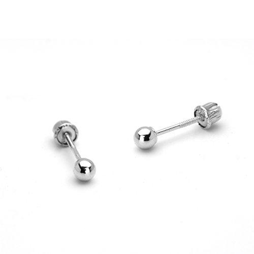 14k White Gold 3mm Plain Hollow Gold Ball Children Screw Back Girls Earrings