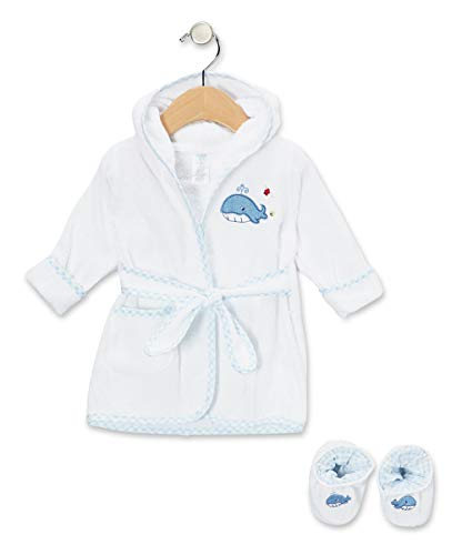 Spasilk 100% Cotton Hooded Terry Bathrobe with Booties, Blue Whale, 0-9 -