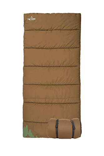 - TETON Sports 1349 Evergreen Canvas Sleeping Bag; Warm and Comfortable Sleeping Bag for Camping or Hunting; Mild Weather Sleeping Bag Perfect for a Family Campout in The Backyard or The Great Outdoors