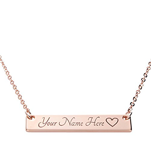 Customizable Your Name Bar Necklace 16k Gold Plated Engraving Personalized Bridesmaid and Wedding Best Graduation Day gift