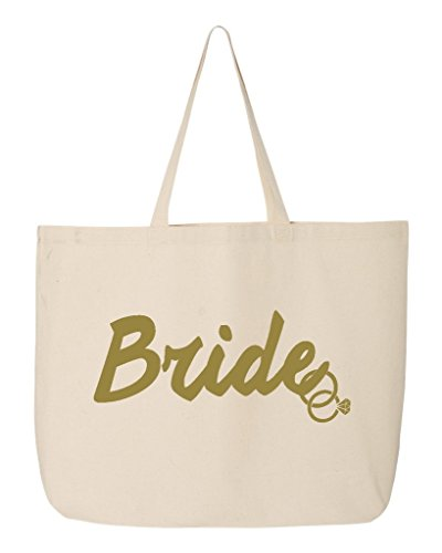 Shop4Ever Bride Gold Rings Jumbo Heavy Canvas Tote Wedding Reusable Shopping Bag 10 oz Natural 1 Pack Jumbo
