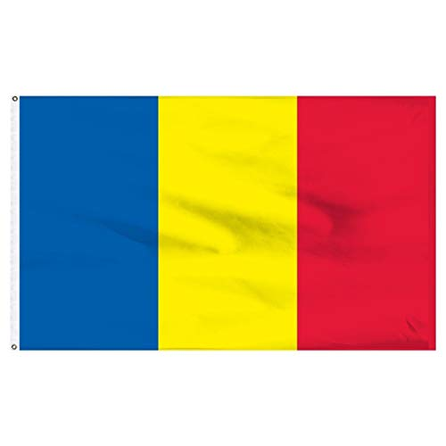 ALBATROS 5ft x 8ft Romania Romanian Flag Rough Tex Knitted 5inx8in Banner for Home and Parades, Official Party, All Weather Indoors Outdoors