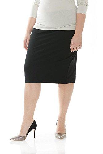 Esteez Plus Size Skirt for Women Cotton Spandex Basic Knee Skirt Black 4X