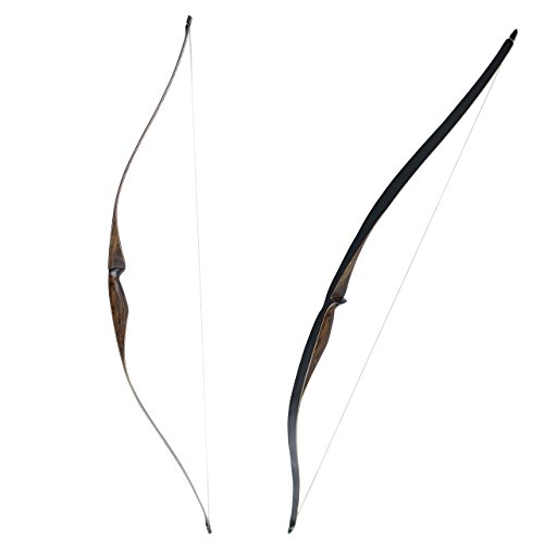 SinoArt Sparrow 54 Traditional Long Bow 20-35LBs Draw Weight One-Piece Longbows Recurve Bow Right Hands for Beginner Women Tenns (Right Hand 25 LBs)