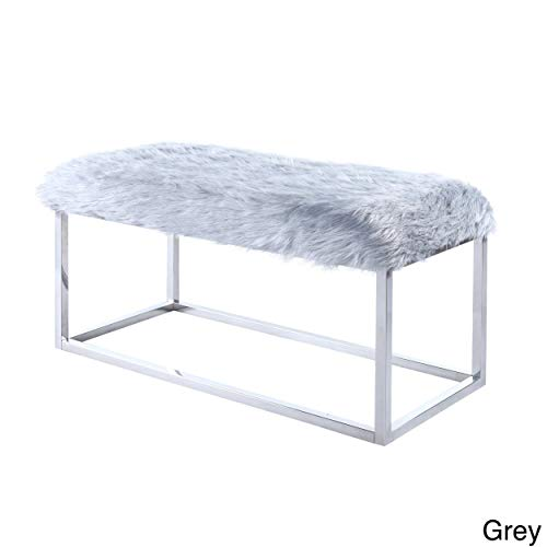 (Iconic Home Marilyn Fur Modern Luxe Chrome Metal Frame Ottoman Bench, Grey)