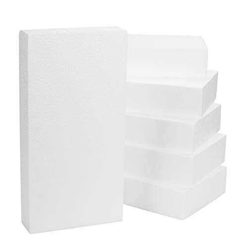 Craft Foam Block - 6-Pack Rectangle Polystyrene Foam Brick, for Sculpture, Modeling, DIY Arts and Crafts, Kids Class, Floral Arrangement, White, 12 x 6 x 2 inches from Juvale