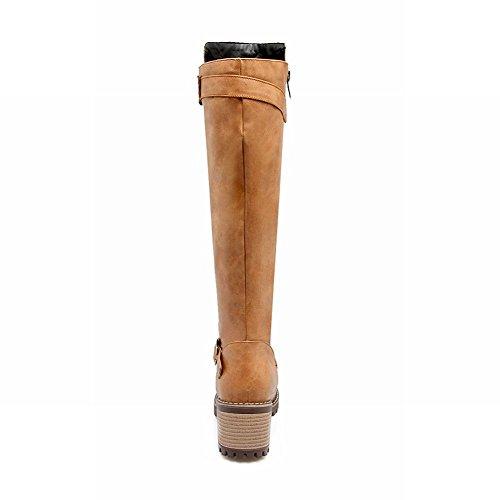 Carolbar Mujeres Hebilla Zip Retro Vintage Mid Heel Arnés Botas Altas Profundo Amarillo