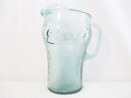 Indiana Glass Glass Pitcher - Vintage Coca Cola Coke Pitcher Indiana Glass Green Dimple -2 Qt