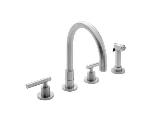 Newport Brass 9911L East Linear Double Handle Widespread Kitchen Faucet with Sid, Satin Nickel