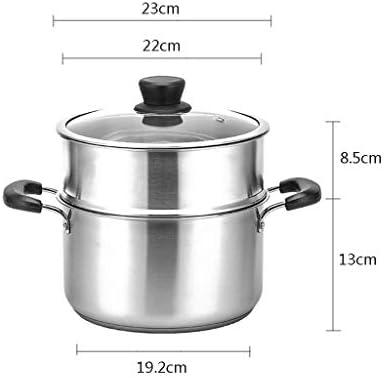HLL Pot, 2 Tier en acier inoxydable Steamers, vapeur, vapeur légumes Insert casseroles Set, le couvercle en verre trempé, trois couches de fond composite,23 * 21.5cm