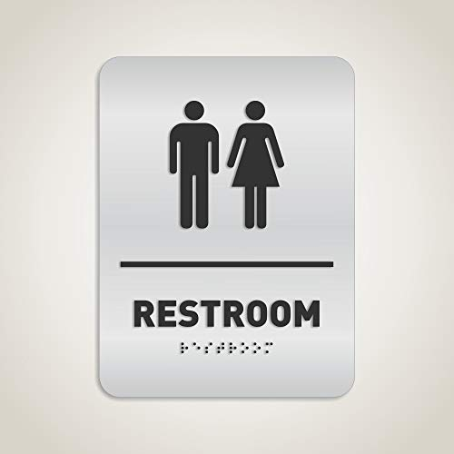 Unisex Restroom Identification Sign - ADA Compliant Bathroom Sign, Raised Icons, Raised Braille, Brushed Aluminum, TCO Inspection Certified - by GDS Architectural Signage