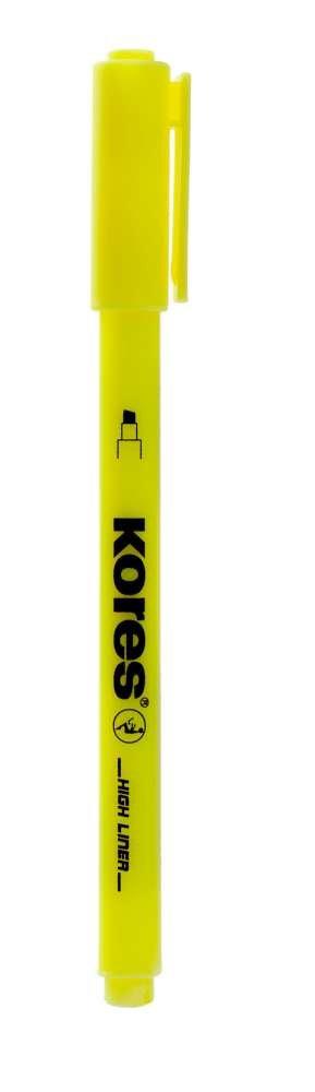 Kores High Liner Surligneur stylo pointe biseaut/ée Jaune