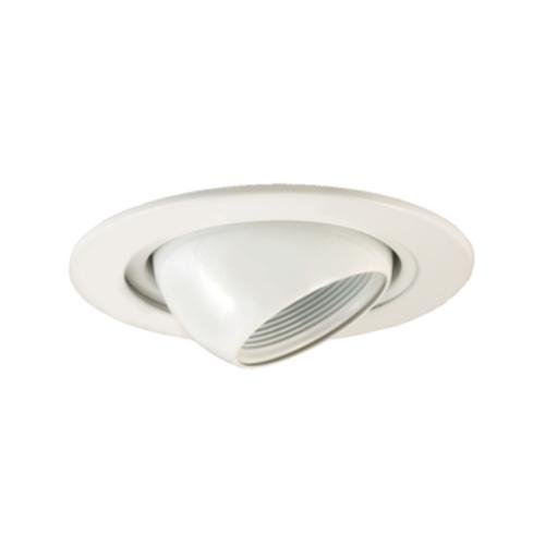 Jesco Lighting TM405WH 4-Inch Aperture Low Voltage Trim Recessed Light, Adjustable Eyeball With Step Baffle, White Finish