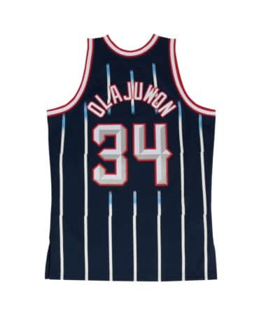 Hakeem Olajuwon Houston Rockets Mitchell and Ness Men's Navy Throwback Jesey Medium