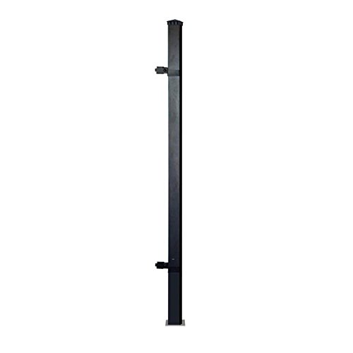 3-in-x-3-in-x-6-ft-black-aluminum-single-post-fence-panel-kit-with-8-ft-post