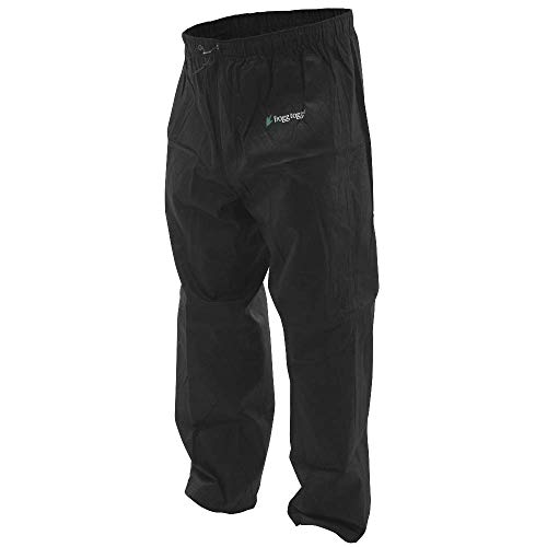 (Frogg Toggs Pro Action Water-Resistant Rain Pant, Black, Size Medium)