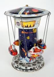 Schylling SPACE STATION ROCKET Spinning CAROUSEL Tin Wind-Up Collector Series in Box (Tin Station Train)