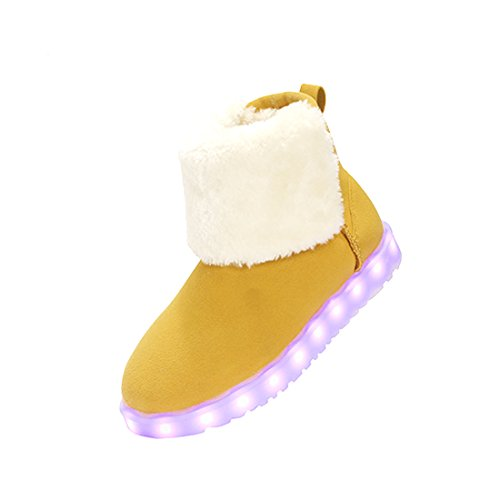 O&N Womens Girls Kids LED Light Up Fur Lined Shoes USB Charging Flashing Snow Boots Gray AM951PA