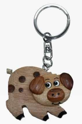 Llavero, madera, con forma de cerdo: Amazon.es: Hogar