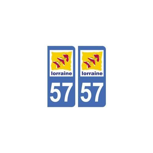 2 autocollants 57 Moselle immatriculation département auto 57 Moselle : angles arrondis