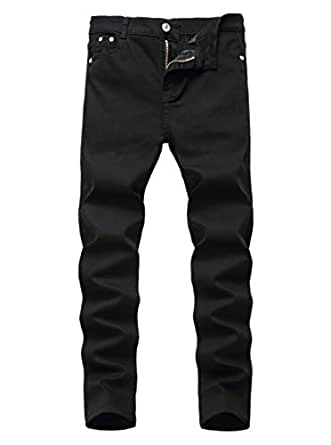 Rosiika Boys Stretch Slim Fit Denim Pull on Jeans Denim Pants for Children Pure Black 12