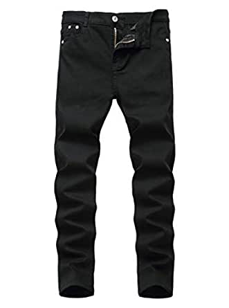Rosiika Boys Stretch Slim Fit Denim Pull on Jeans Denim Pants for Children Pure Black 12