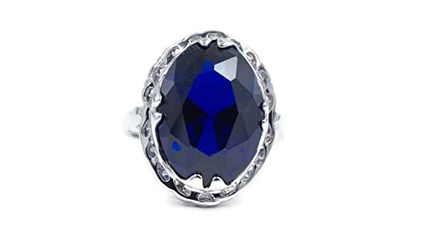 Glamour Rings Large Oval Sapphire Spinel Single Stone Silvertone Fashion Ring with Unique Framed Setting