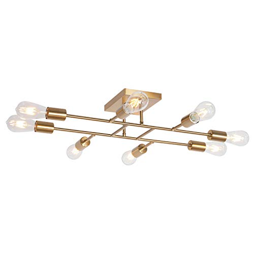 TULUCE Mid Century Modern Ceiling Lighting Fixture Industrial Semi Flush Mount Light Ceiling Brushed Brass 8 Light for Kitchen Dining Room Bedroom Living Room Foyer Chandelier ()