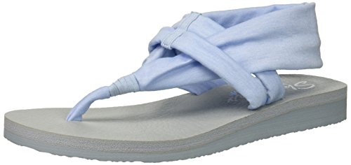 Skechers Cali Women's Meditation-Studio Kicks Flat Sandal,light blue,11 M US