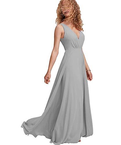 Long Bridesmaid Dresses Chiffon V Neck Women Simple Pleated Formal