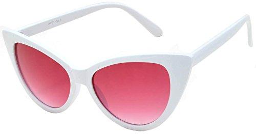 Vintage Cat Eye Sunglasses White Frame Red Lens - Lenses Sunglass White
