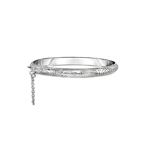 Verona Jewelers Sterling Silver 925 7MM Plain and Engraved Bangles for Women- 2 Classic Bangle Styles (Engraved)