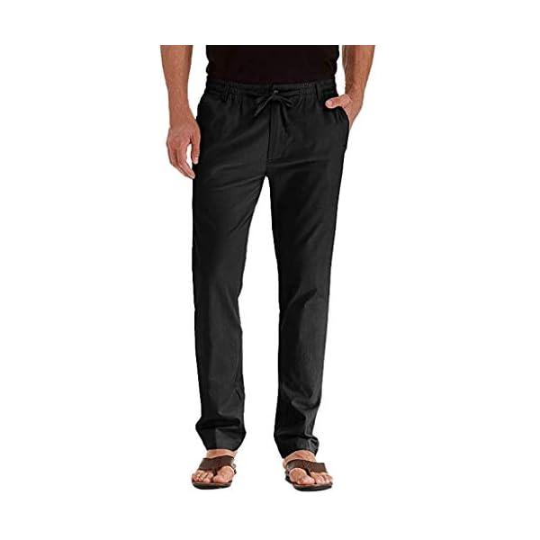 FRAUIT Pantaloni Uomo Lino Tasconi Pantaloni Ragazzo Slim Fit Elasticizzati Pantalone Uomini Casual Plus Size Oversize… 1 spesavip
