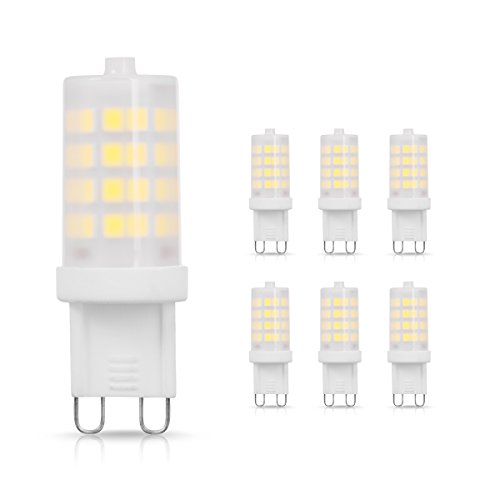 (JandCase G9 LED Bulb 40W Halogen Equivalent, Cool White 6000k, 400lm, 4W Frosted Cover 360 Degree Lighting for Bathroom, Wall Sconce, G9 Bi-Pin Base, Non-Dimmable, Pack of 6)